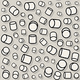 Vector Seamless Jumble Rotating Random Scale Cylinder Pattern
