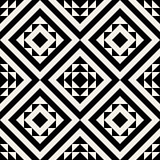 Vector Seamless Black And White Geometric Ethnic Square Pattern