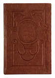 Vintage book brown embossed on an isolated white background