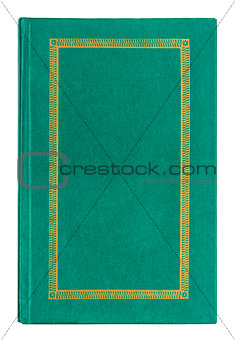 Old leather green book with gold ornament isolated on white back