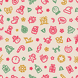 Christmas Symbols Seamless Pattern Colorful