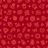 Christmas Symbols Seamless Pattern Red