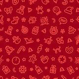 Christmas Symbols Seamless Pattern Red