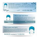 Template three small flyers  with woman in turban