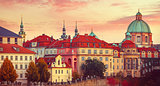 Sunset roof house old city autumn Prague
