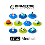 Isometric flat icons set 20