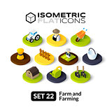 Isometric flat icons set 22