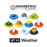 Isometric flat icons set 24