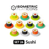 Isometric flat icons set 26