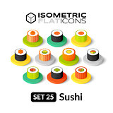 Isometric flat icons set 25