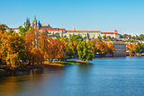 Autumn Prague castle over river Vltava
