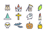 Outline vector icons set for Halloween.