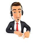 3d businessman headset empty wall