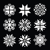 Snowflakes, Christmas vector white icons set on black