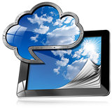 Tablet Pc With Cloud Computing Symbol