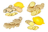 Ginger and lemon on white background