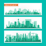 City skyline kit with factories, refineries, power plants etc.