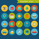 Trendy detailed tourism icon set
