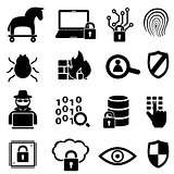 Cyber security and data icons