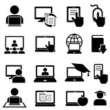 Online education and learning icons