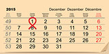 December 1, 2015 World AIDS Day. Red ribbon symbol. Calendar date reminder