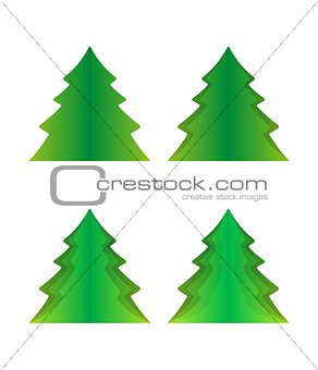 four green trees