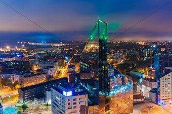 Aerial view city at night, Tallinn, Estonia