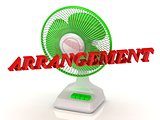 ARRANGEMENT- Green Fan and bright color letters on