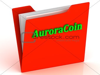 AuroraCoin- bright green letters on a gold folder