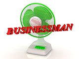 BUSINESSMAN- Green Fan and bright color letters on