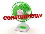 CONSUMPTION - Green Fan propeller and bright color letters