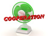 COOPERATION- Green Fan propeller and bright color letters