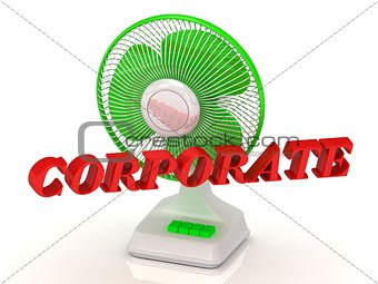 CORPORATE- Green Fan propeller and bright color letters