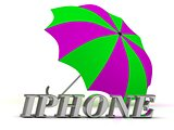 IPHONE- inscription of silver letters and umbrella