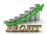 PROFIT- inscription of gold letters and Graphic growth