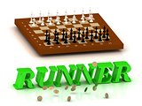 RUNNER- inscription of green letters and chess on