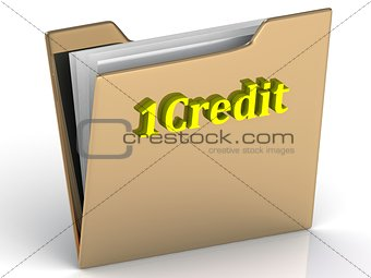 1Credit - bright letters on a gold folder
