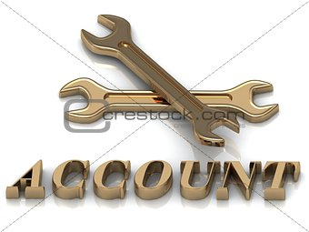 ACCOUNT- inscription of metal letters and 2 keys