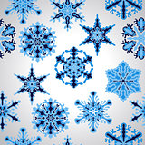 Vector Seamless Pttern with blue Snowflakes