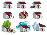 Set homes Disaster. Home insurance. Property insurance