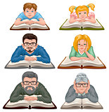 Family reading book. Set people reading book