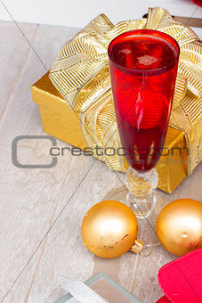 christmas champagne in red glasses