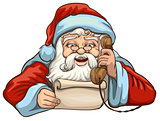 Santa reading letter and talking on phone