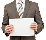 Businessman with blank paper in hands