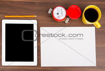 Blank paper with tablet