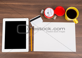 Blank paper with tablet and blank card