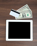 Tablet with credit card