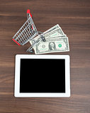 Tablet with shopping cart