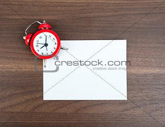 Blank card with alarm clock