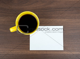 Blank card with coffee